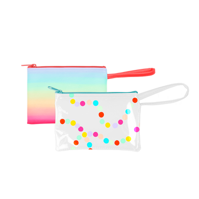 Poptart-To-Go is a small pouch wristlet in vinyl Sugar Rush and vegan leather Meltdown patterns.