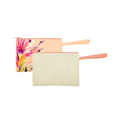 The tropics Collection Poptart-To-Go is a small pouch wristlet in Natural Straw and Paradise.