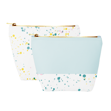 Two cute cosmetics bags; one white with paint splatter print and one powder blue with paint splatter trim and a zippered top.