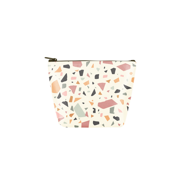 Terrazzo Tweedle Dee is a cute cosmetics bag in white with a terrazzo pattern.