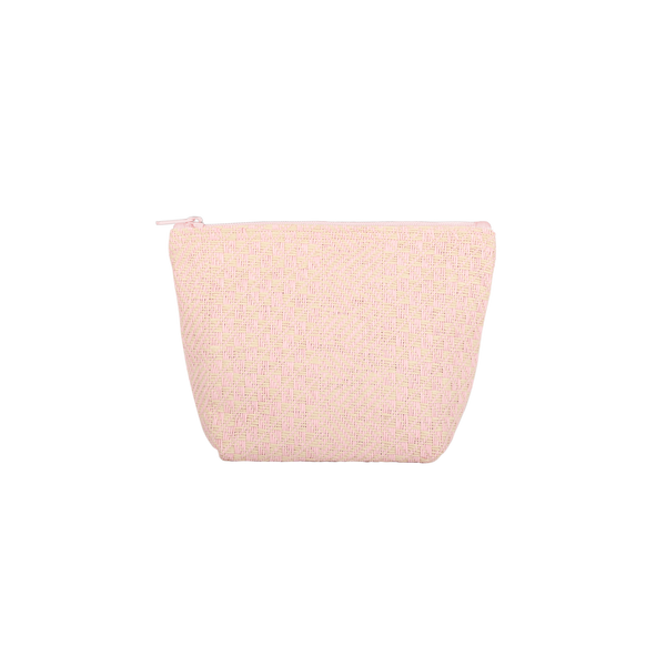 Pink Straw Tweedle Dee is a cute cosmetics bag with a pink zippered top.