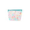 Vinyl Party Animal Tweedle Dee is a clear cosmetics bag with rainbow confetti pattern and blue zipper.