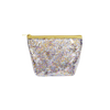 Cute Cosmetics Bag in a clear vinyl with glitter confetti lining and a gold zippered top.