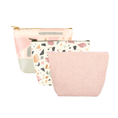 Mutey Fruity Collection Tweedle Dees are cute cosmetics bags in pink straw, terrazzo, and mutey fruity patterns.