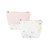 Two cute cosmetics bags; one white with paint splatter print and one blush pink with paint splatter trim and a zippered top.