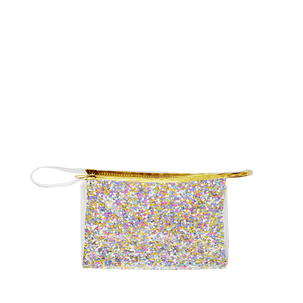 Small travel cosmetics pouch in clear vinyl with rainbow glitter confetti, a gold zipper and small looped strap.