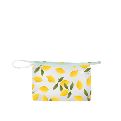 Jetsetter Lemons is the perfect travel cosmetics pouch in clear vinyl with cute lemons pattern.