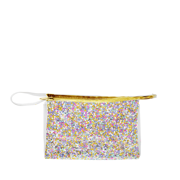 Large travel cosmetics pouch in clear vinyl with rainbow glitter confetti, a gold zipper and small looped strap.