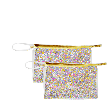 Travel cosmetics pouch in clear vinyl with glitter confetti in small and large.
