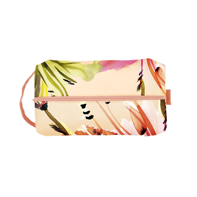 Paradise Doppelganger is a large toiletries bag in peach and floral print with a carrying strap.
