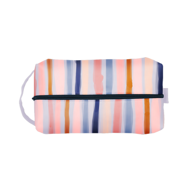 Free Spirit Doppelganger is a large toiletries bag with a carrying handle with boho stripes.