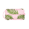 Doppelganger Buds is a large toiletries bag in blush pink with green leaf pattern.