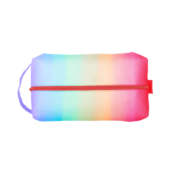 Meltdown Doppelganger is a rainbow print with a coral zipper and carrying handle.