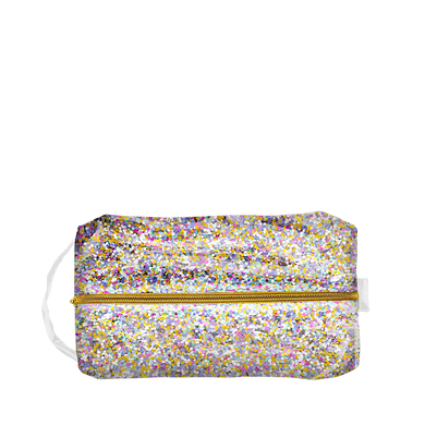 Large Toiletries Bag in vinyl with glitter confetti, a gold zipper down the center and vinyl strap.