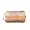 Doppelganger Metallic is a large toiletries bag in gold vegan leather with a handle.