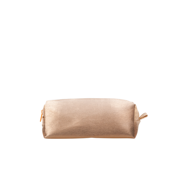 Doppelganger Metallic is the perfect makeup bag in gold vegan leather with a handle.