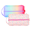 Ice Cream Social Doppelganger is a large toiletries bag in tiny hearts and rainbow meltdown patterns.