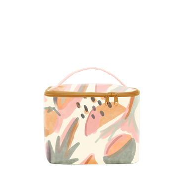 Mutey Fruity Soulmate is a large toiletries bag with an abstract fruits pattern and carrying handle.