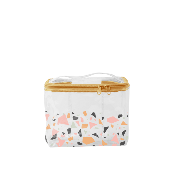 Terrazzo Soulmate is a clear vinyl, large toiletries bag with a terrazzo pattern and carrying handle.