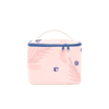Cute cosmetics pouch in pastel colors.