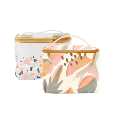 Mutey Fruity Collection Soulmate bag is a large toiletries bag in clear vinyl with terrazzo print and abstract fruits pattern.