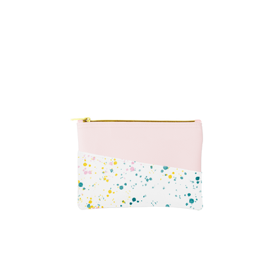 Small pouch with a pocket in blush pink with white paint splatter print.