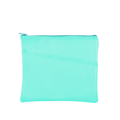 Dollface Peek-a-boo Pouch has a front pocket, is a turquoise color and makes a perfect cosmetics pouch.