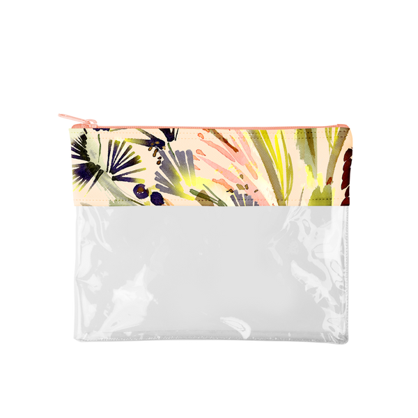 This large, cute pencil pouch is made of clear vinyl with a tropical plants patterned top with a pink zipper.