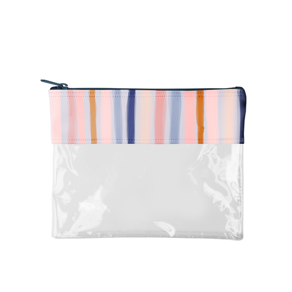 Dollface Pouch is a large pencil pouch in clear vinyl with a boho stripes detail.