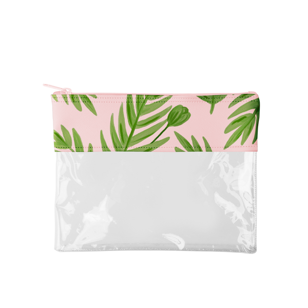 This cute pencil pouch is made of clear vinyl with a blush pink and green leaves trim.