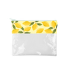 Lemons Dollface is a cute pencil pouch with a yellow lemon trim and clear vinyl pouch.