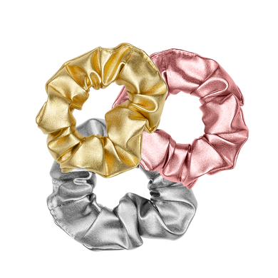 Metallic Scrunchie Set includes three cute scrunchies in gold, rose gold, and silver.