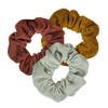 Three corduroy scrunchies