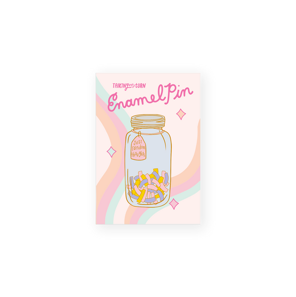enamel pin of a glass jar with confetti full of random thoughts