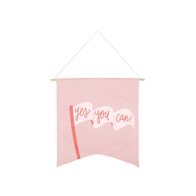 Yes You Can Wallflower is a cute canvas wall hanging in blush pink with an waving flag of encouragement..