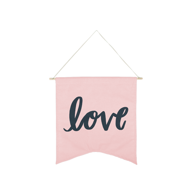Navy Blue Love Wallflower is a cute canvas wall hanging in blush pink.
