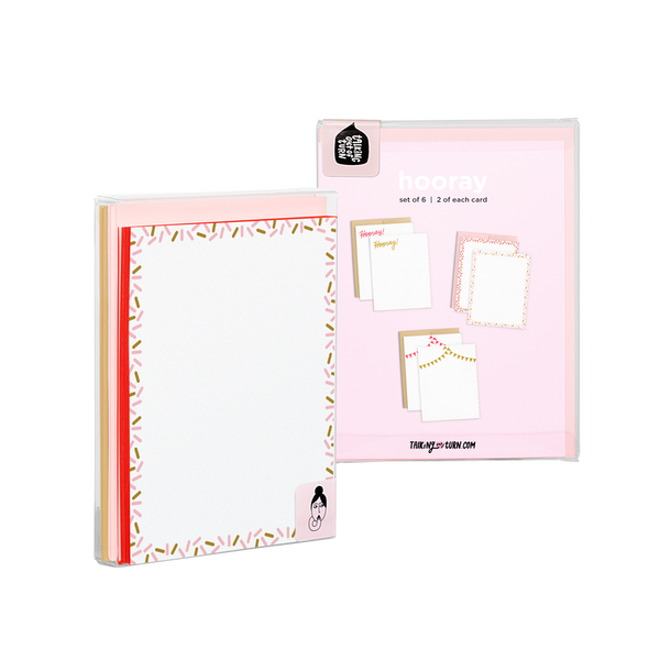 Hooray Stationery Set comes packaged in a clear box with illustrated backer card.