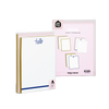 Shine Stationery Set comes packaged in a clear plastic box with illustrated backer card.