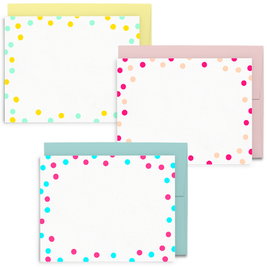 Dots Set is a cute stationery set featuring colorful polka dots on flat cards.