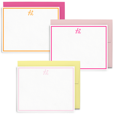 Hi Frame Set is a cute stationery set of hand lettered hi in different colors.