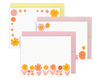 set of three cards with floral patterns with yellow envelope, pink and light pink envelopes