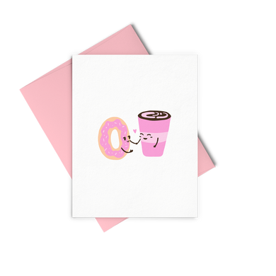 Donut Coffee is a cute greeting card of a pink latte and donut in love.