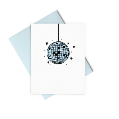 Disco Ball greeting card with a blue envelope.