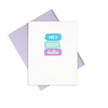 Hey Wassup Hello is a cute greeting card with blue and purple coloring and a lilac envelope.