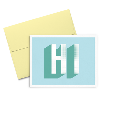 HI Dots is a cute greeting card in blue with bold HI and a yellow envelope.