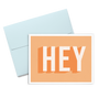 Hey Dots is an orange greeting card with bold graphic lettering and a blue envelope.