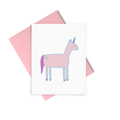 Unicorn greeting card is a pink unicorn illustration and includes a pink envelope.