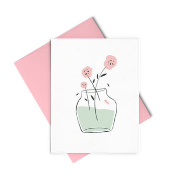 Vase of Flowers greeting card has a pink floral bouquet in a vase and includes a pink envelope.