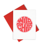 Wild Child is a cute greeting card with graphic lettering and a red envelope.