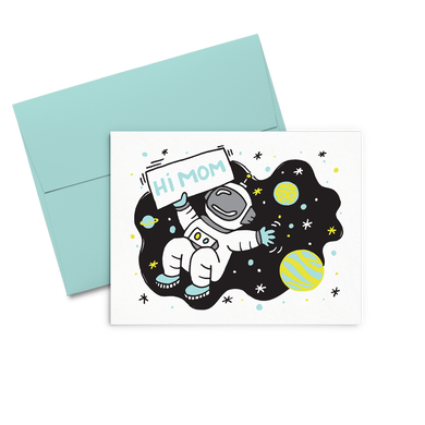 Hi Mom Space is a cute mothers day greeting card with an astronaut surrounded by planets holding a sign.